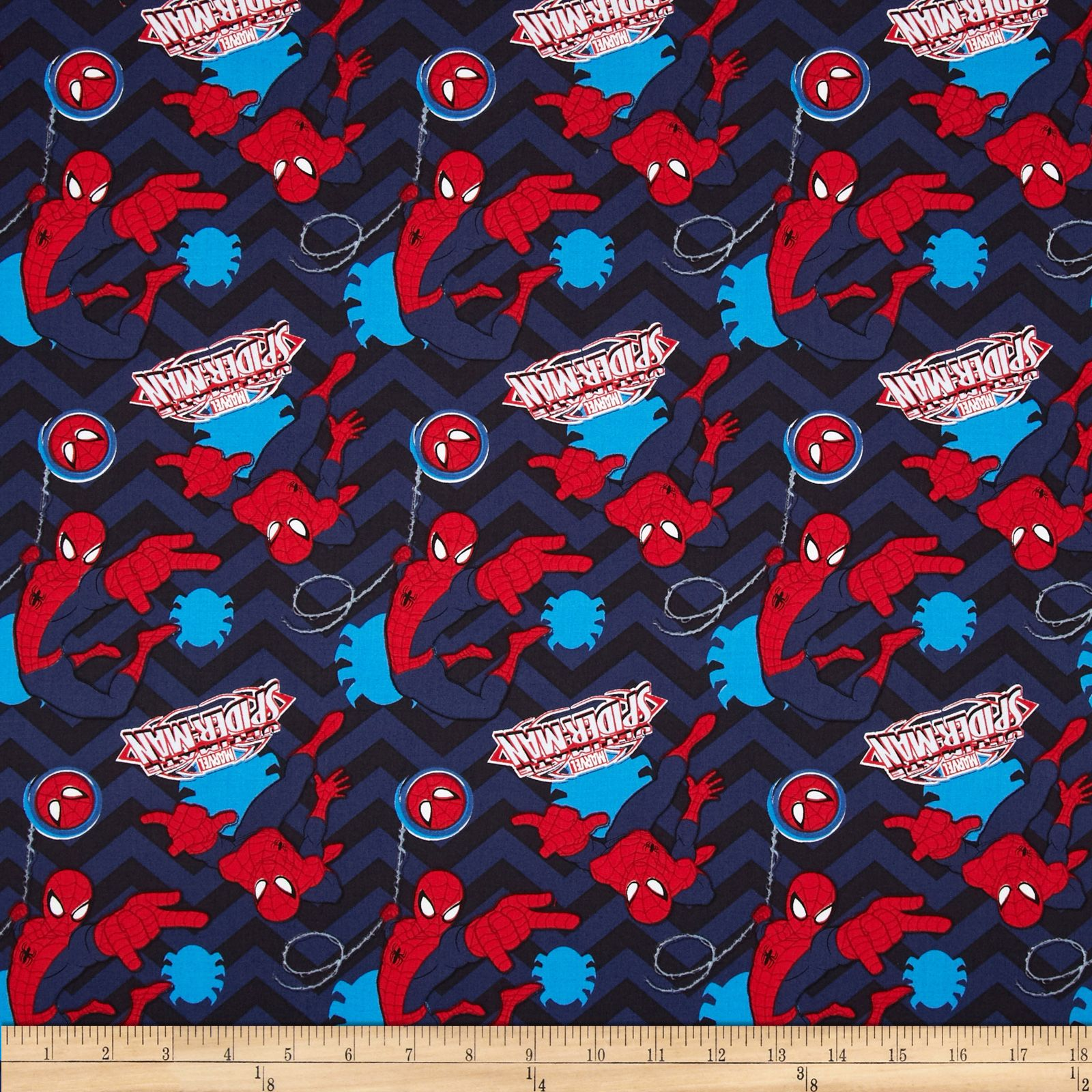 Marvel Ultimate Spider-Man Chevron Navy Fabric