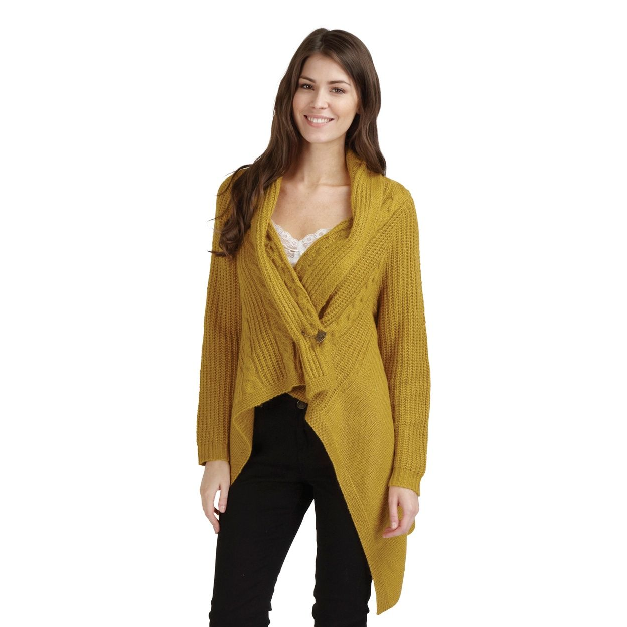 Joe Browns Mustard waterfall chunky knit cardigan- at Debenhams ...