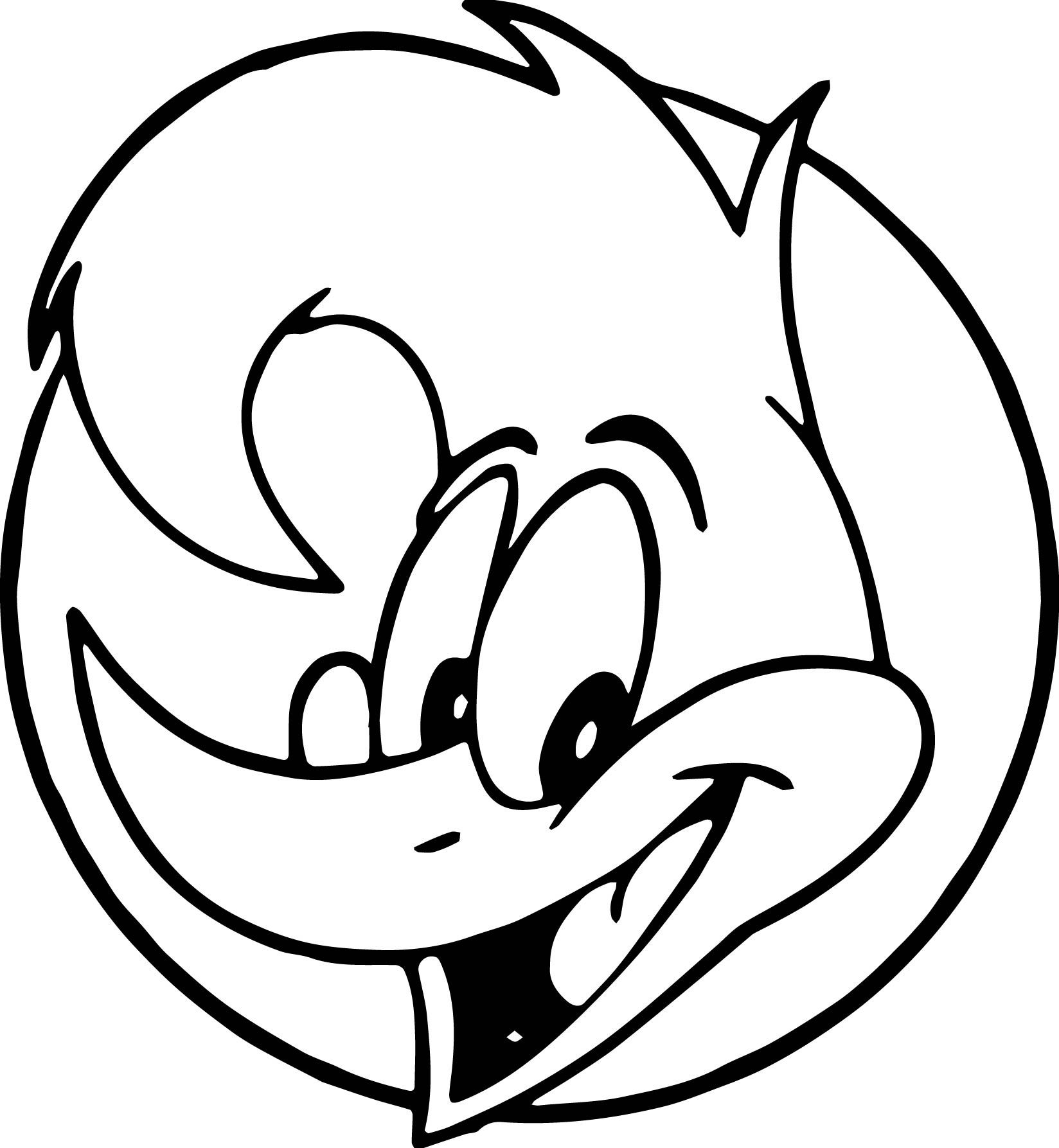 Woody Woodpecker Face Coloring Page