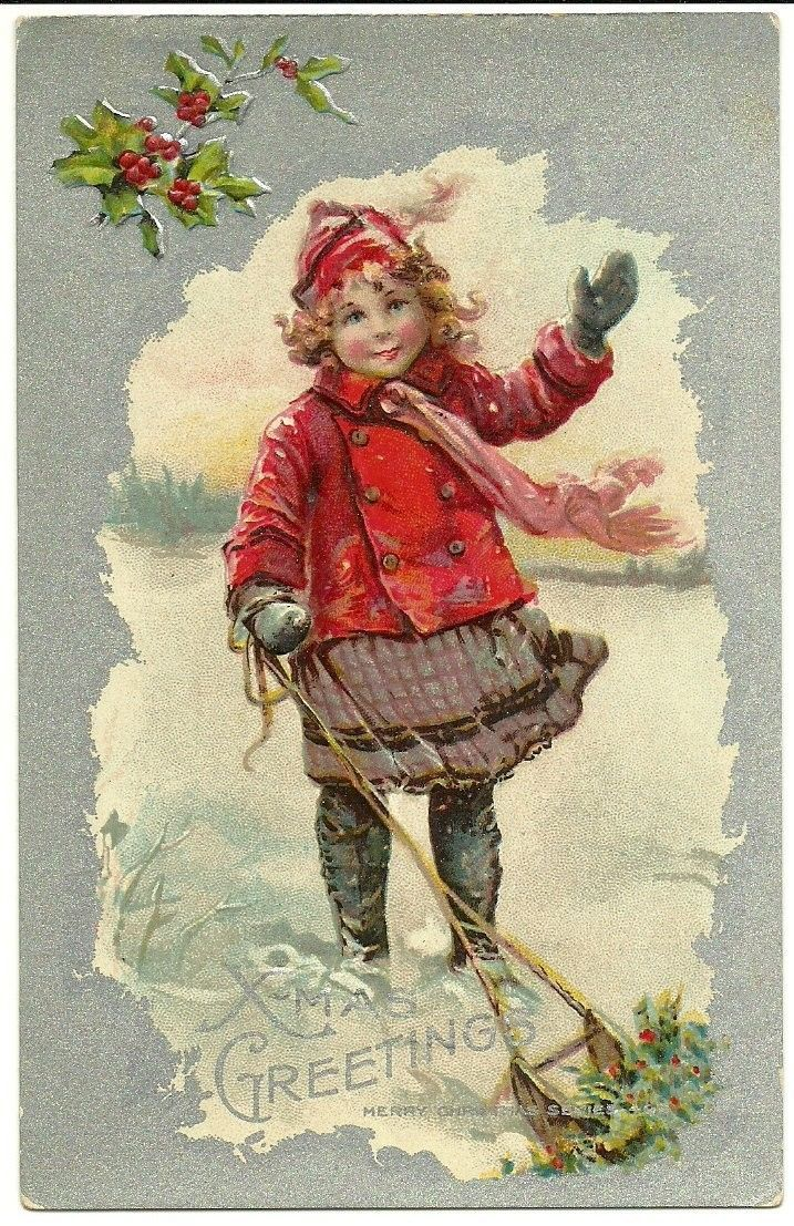 Xmas Greeting Christmas Cute Girl Red Outfit Winter Sled Holly Snow