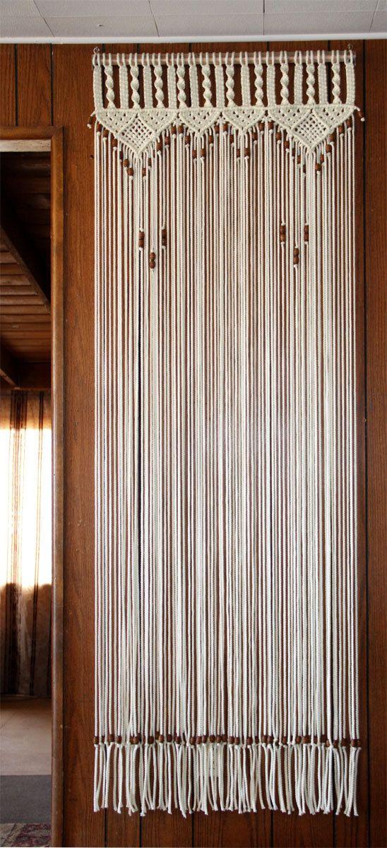 Door Curtain Macrame and Beaded For a Door(30  by 80 ) by craftflaire! & Bead Fringed Door Curtain Macrame For a Door With Tie-Backs In ...