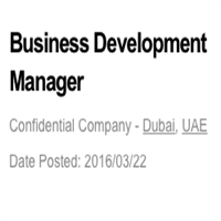 Business Development Manager Job  Dubaishould Have Hands On