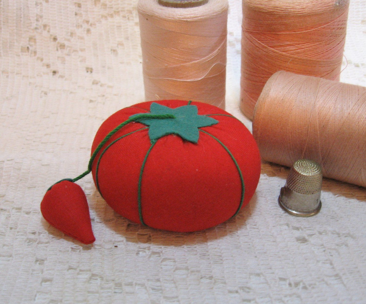 Vintage Tomato Pin Cushion With Emery Needle Sharpener Sold
