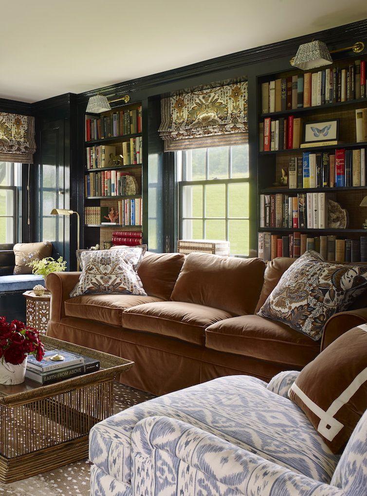 Ashley Whittaker Design :: Brown velvet sofa | Books | Pinterest ...