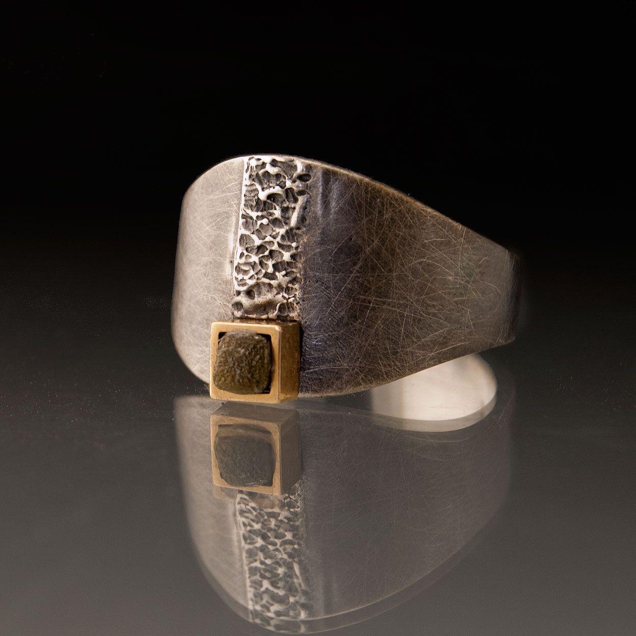 Rough Diamond 14k Yellow Gold Square Bezel Sterling Silver Ring - Textured Raw Diamond Cube Amor Ring via Etsy.