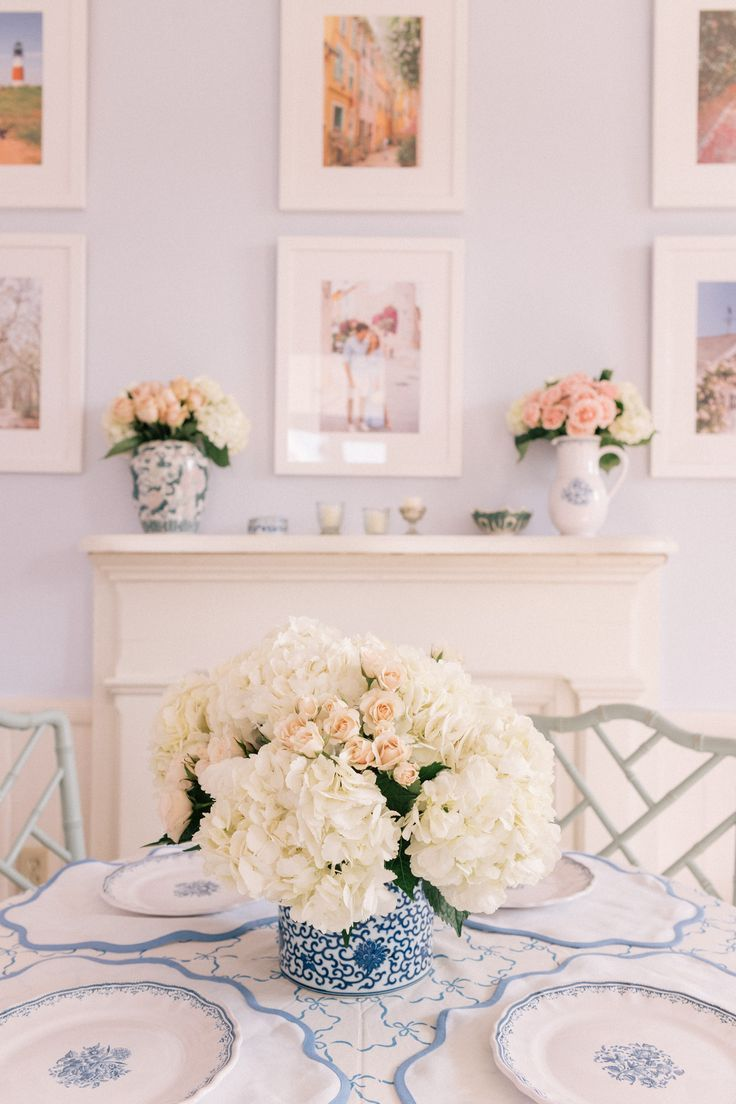 Blue and white ginger jar with white hydrangeas <3