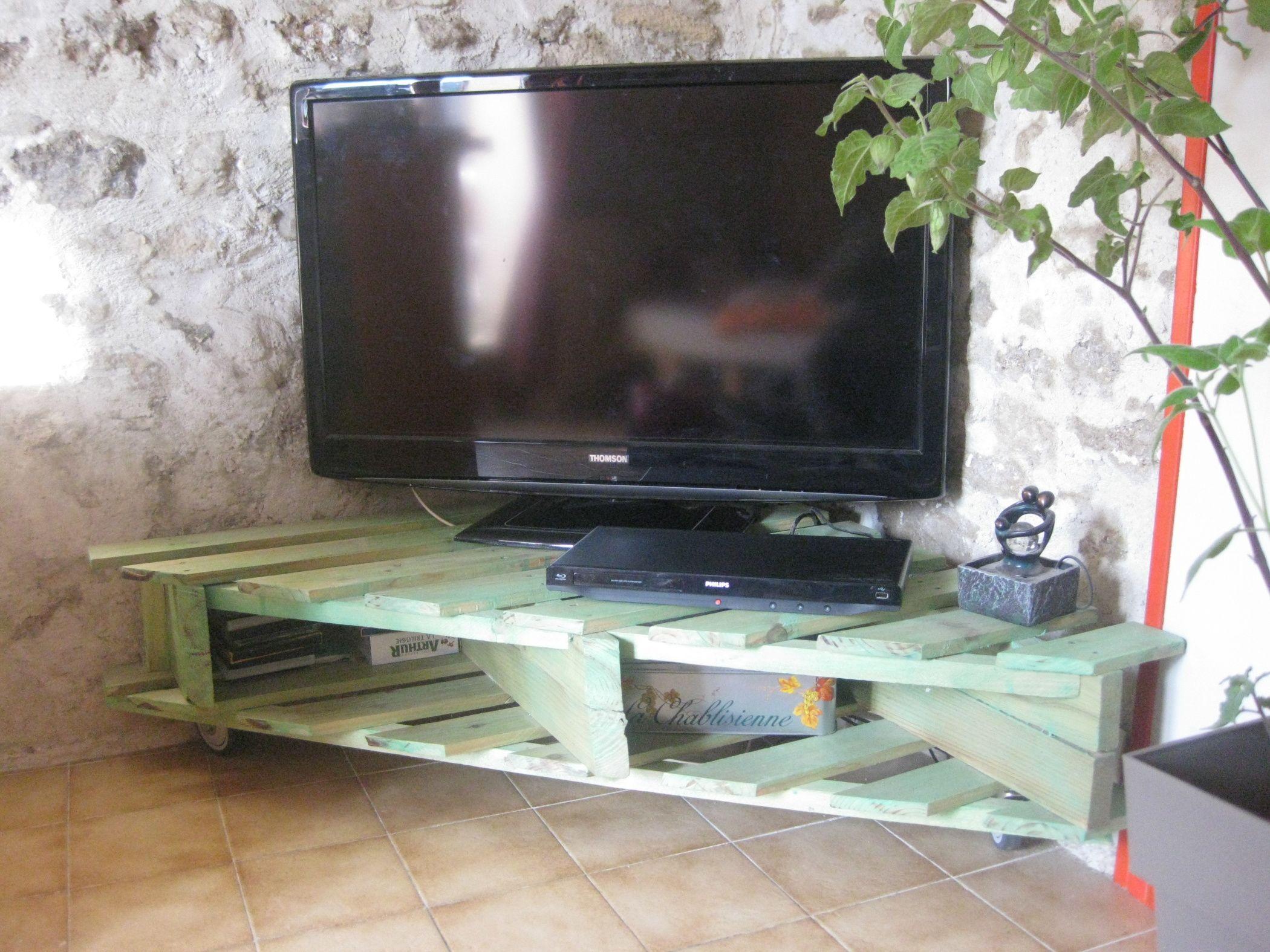 Meuble Tv Palette Plan Fabriquer Meuble Tv En Palette Prix  # Meuble Tv En Palettes Photos