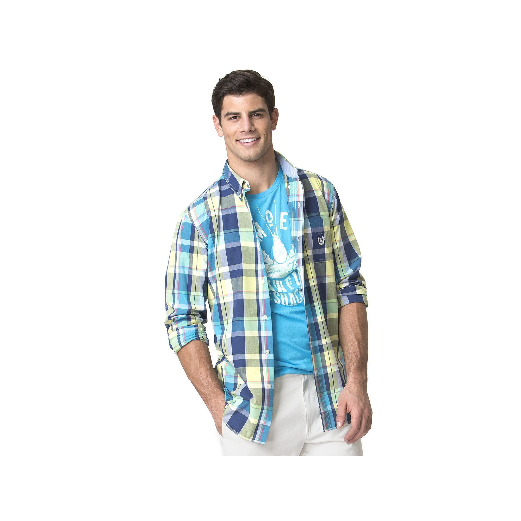 Flannel shirts at kohl's  Menus Chaps ClassicFit Plaid EasyCare ButtonDown Shirt Yellow