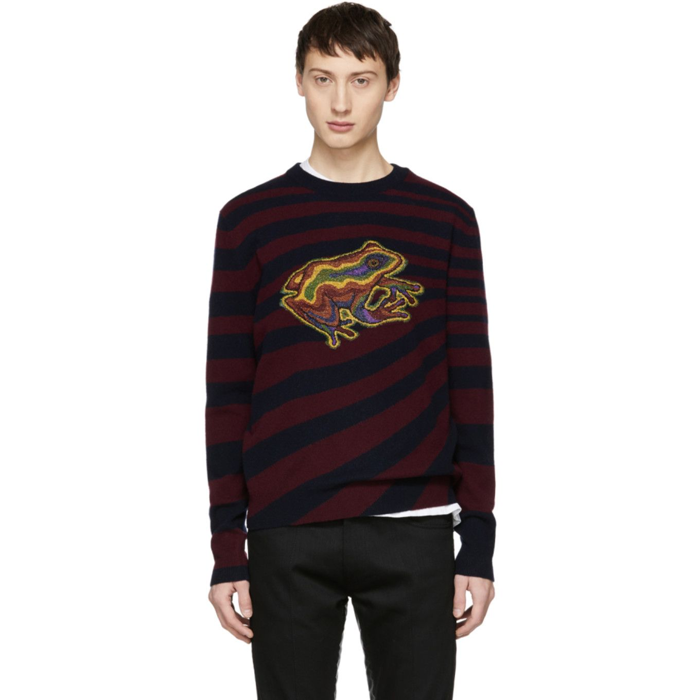 583515675665 Paul Smith - Burgundy   Navy Wool Frog Sweater