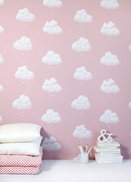 nubes-rosa Little lambs Pinterest Papel pintado infantil