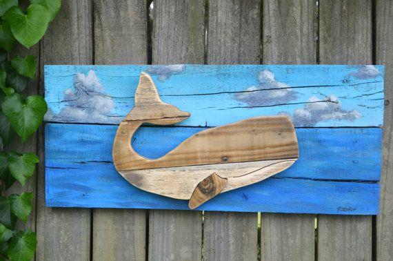 Reclaimed Wood Whale - painted ocean scene, blue, clouds, beach, sky, costal living, wall hanging, wall art , pallet wood #reclaimedwoodwallart