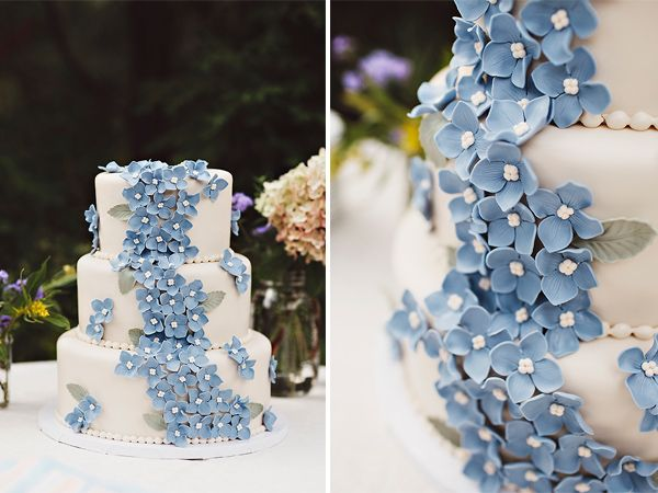 Tiered White Wedding Cake With A Swath Of Tiny Blue Flowers Cake - Small Blue Wedding Cakes