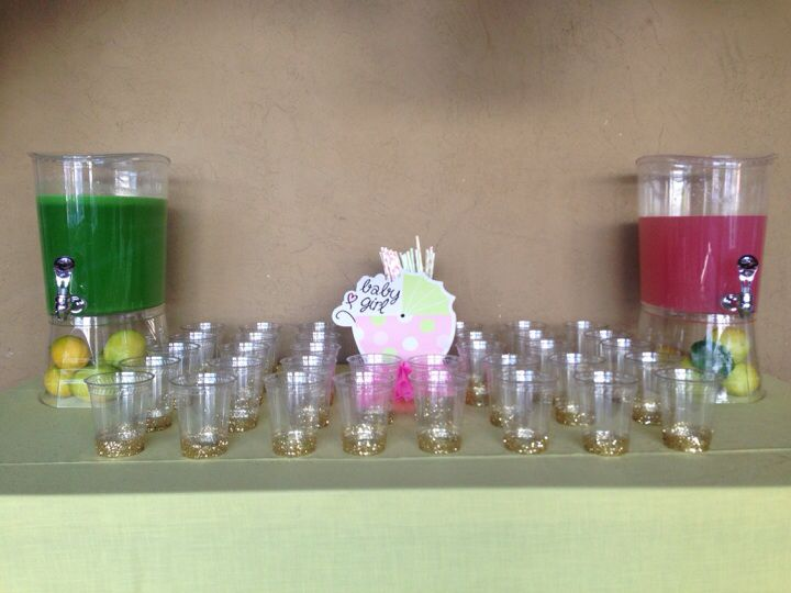 Glitter cups for the baby shower.