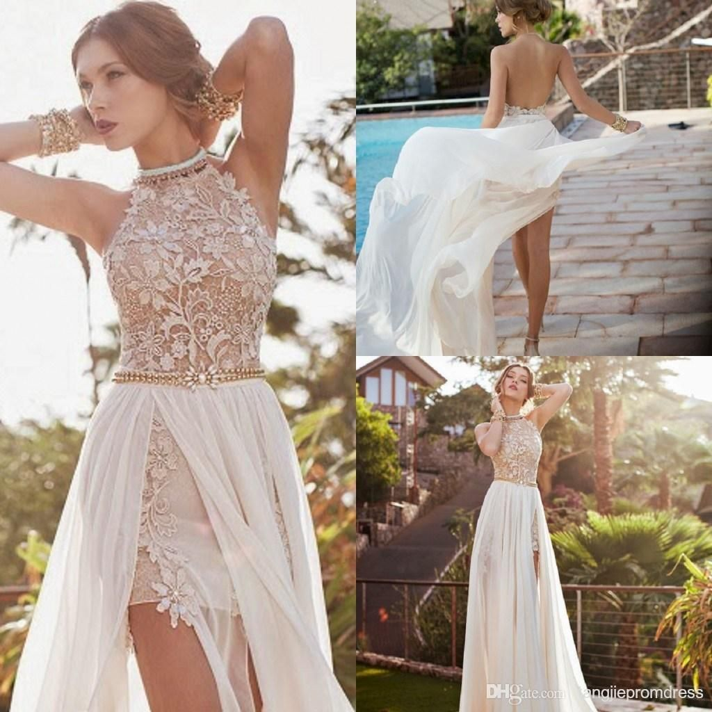 New romantic white prom dress high low lace special occasion