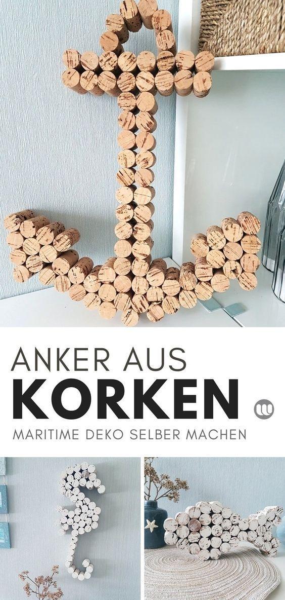 Maritime Korken Deko: Anker & Seepferdchen basteln mit Weinkorken #diybirthdaydecor