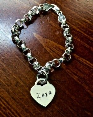 1e54a7f79 Heart Name Bracelet- Thick Bracelet- Tiffany Style Beautiful heart charm  bracelet- perfect gift for mom or grandma to cherish a lifetime.