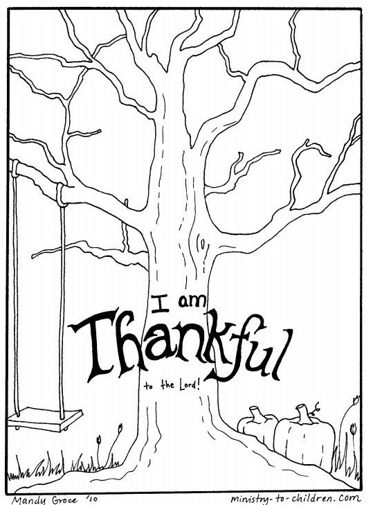 november color sheet free tree coloring page has the words i am thankful to the lord it has bare tree branches pumpkins and a childs swing - Bare Tree Coloring Pages Printable