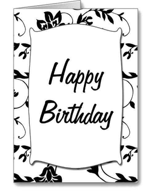 Black White Happy Birthday Card Coloring Page Places to Visit