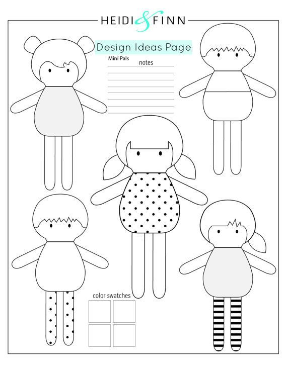 New Mini Pals Soft Doll Sewing Pattern Includes Several Hairstyles