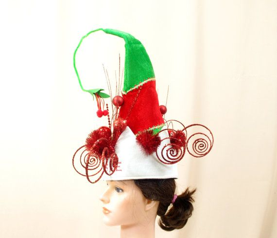 7024aea56c168 Vintage Christmas Hat Santa Hat by englishrosedesignsoh on Etsy