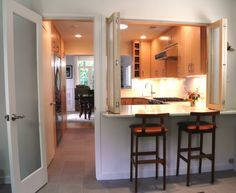 Pass through with two stools  Kitchen remodeling ideas