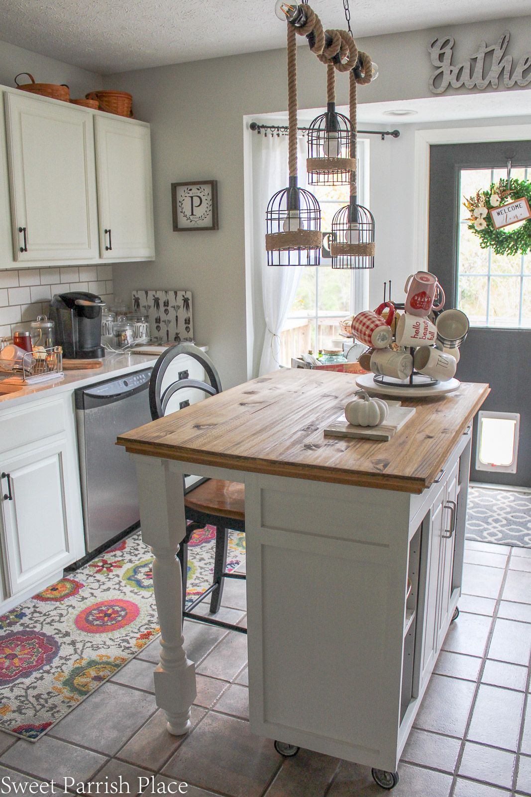 Farmhouse kitchen island makeover with rustic wood top that looks