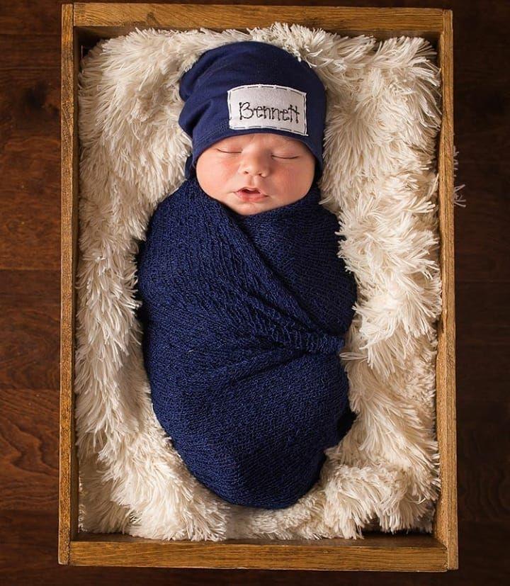 New Baby Gift Family Portrait Its a Boy Baby Shower Gift Navy Blue Beanie Wishing Well Present Baby Boy Beanie Hat Newborn Photo Prop