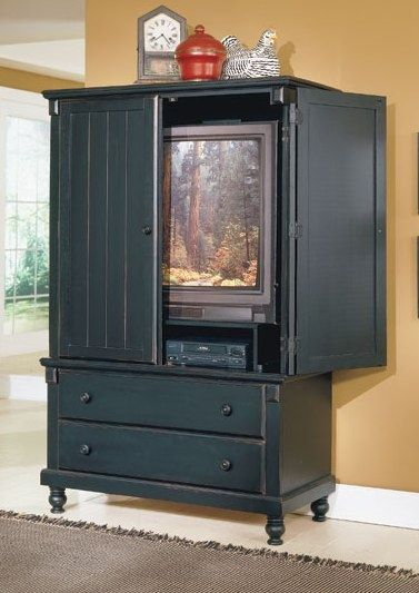 2 drawer pottery tv armoire in black finish houses tv - The room place bedroom furniture ...