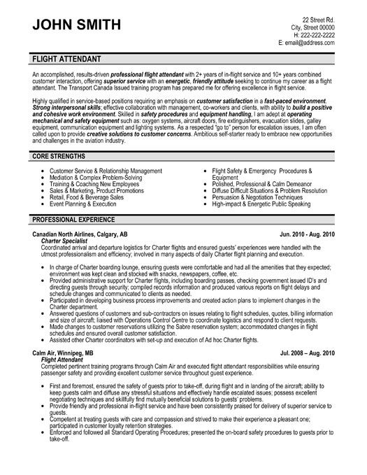 Flight Attendant Example Resume – Flight Attendant Resume