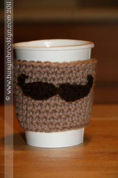Mustache Coffe Cozy Pattern Crochet Pinterest Coffee Cup Cozy