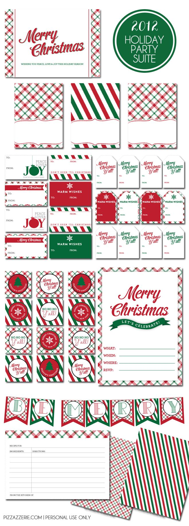 holiday printable collection 2 color schemes party traditional holiday party printables contains invites recipe cards food tent cards