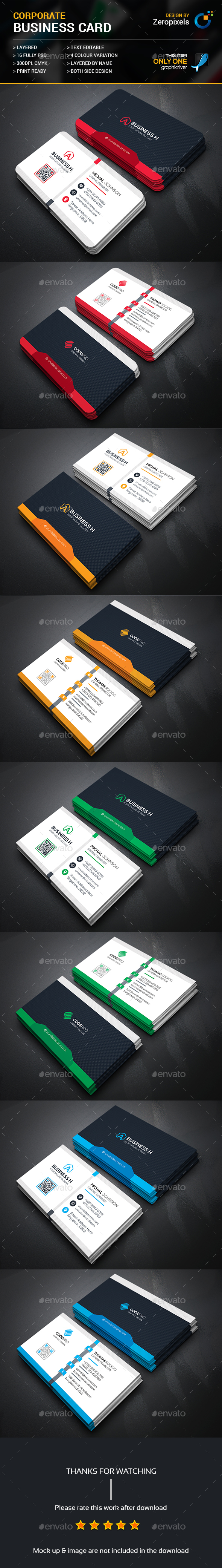 Corporate Business Card Templates PSD Bundle. Download here: https ...