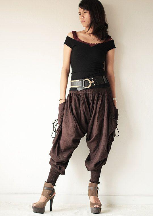 PantsFunky harem Pants long pants.Linencotton fits M-L size Bohochicfunkydrawstring..Elastic waist 428