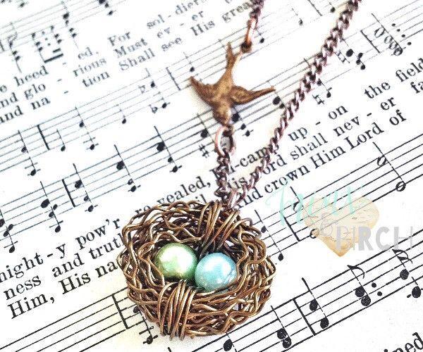 Fresh Nest Necklace with birdie // 2 eggs
