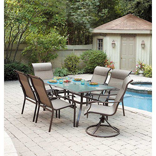 Mainstays York 7 Piece Patio Dining Set Seats 6 Mainstays