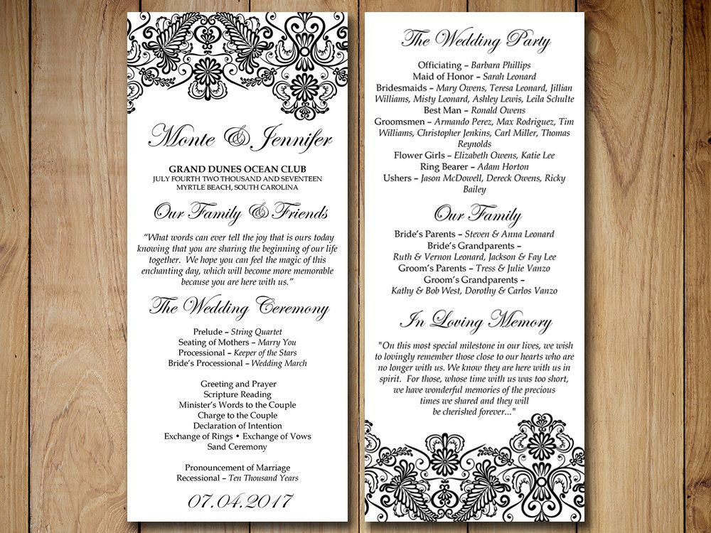Vintage Wedding Program Template Lace By Paintthedaydesigns