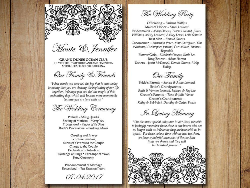 vintage wedding program template lace wedding program chantilly