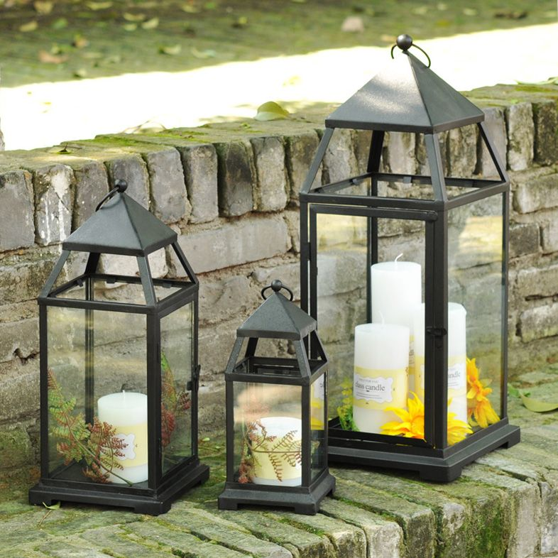 Image gallery outdoor standing lantern large for Large outdoor christmas candles