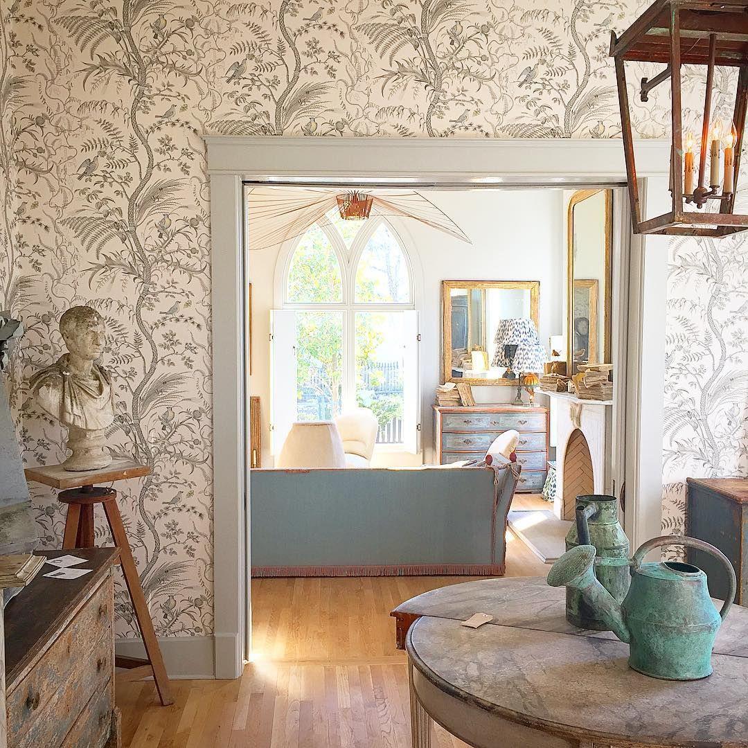 Brunschwig Fils Bird And Thistle Wallpaper Jeannette Whi