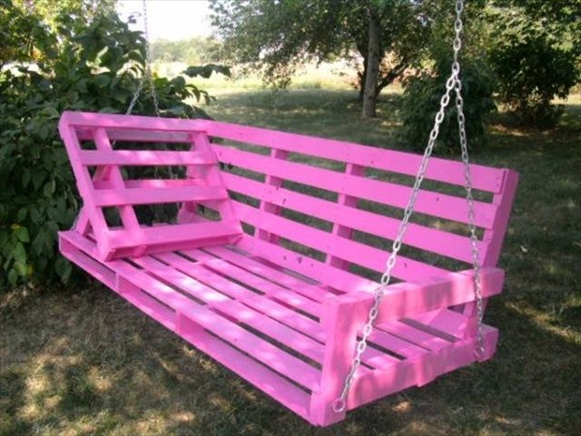 Diy pallet swing plans chair bed bench upcycled pallets for Diy pallet bench instructions