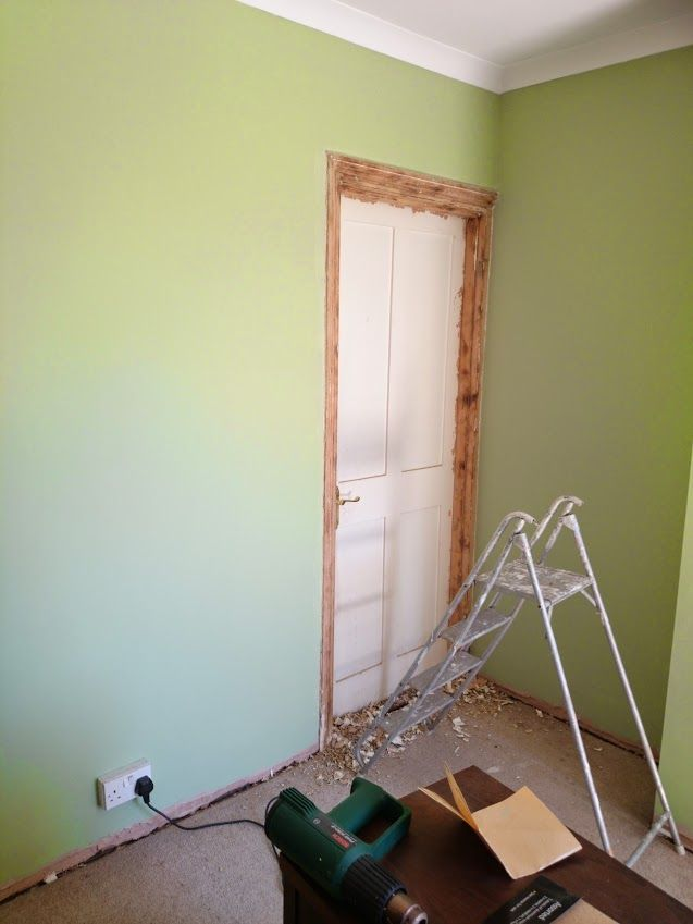 My New Dining Room Colour Dulux Putting Green And Hard Graft Stripped Door Frame