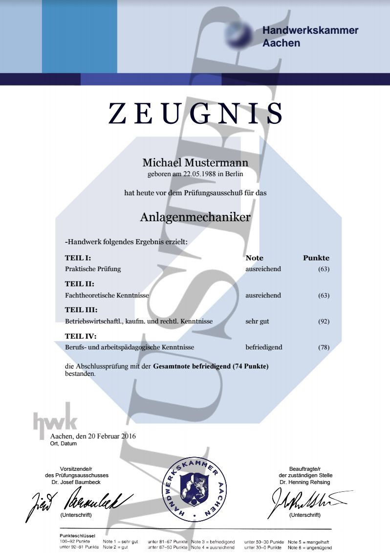 HWK Zeugnisse kaufen 14,80 € Urkunden Zeugnis online erstellen und ...