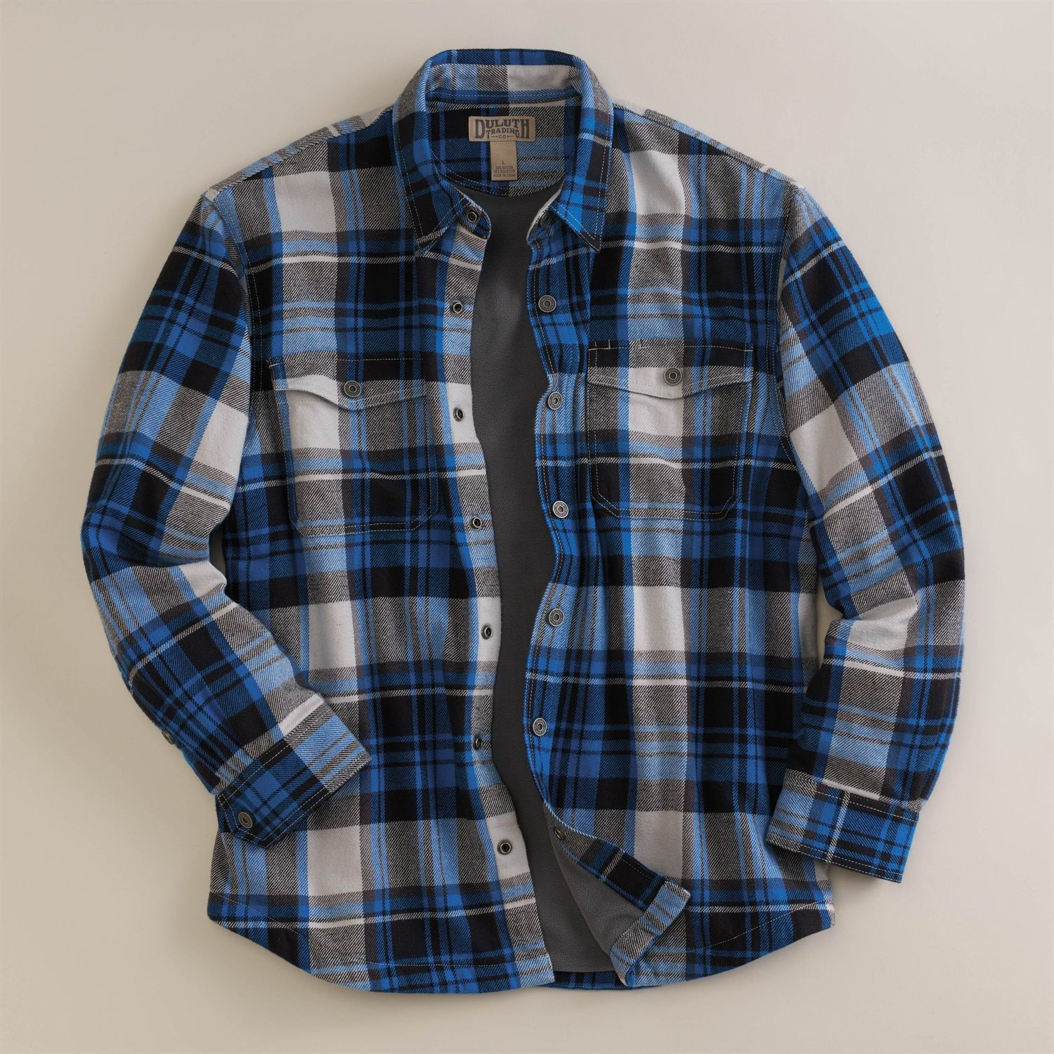 Classic bluer plaid duluth trading co men 39 s flapjack for Men flannel shirt jacket with quilted lining