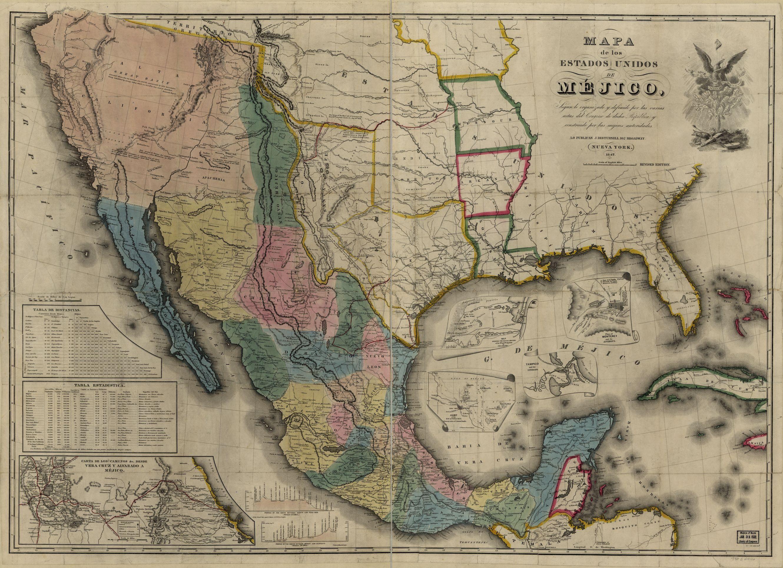 Mejico O Mexico Mapa.John Disturnell 1847 Mapa De Los Estados Unidos De Mejico
