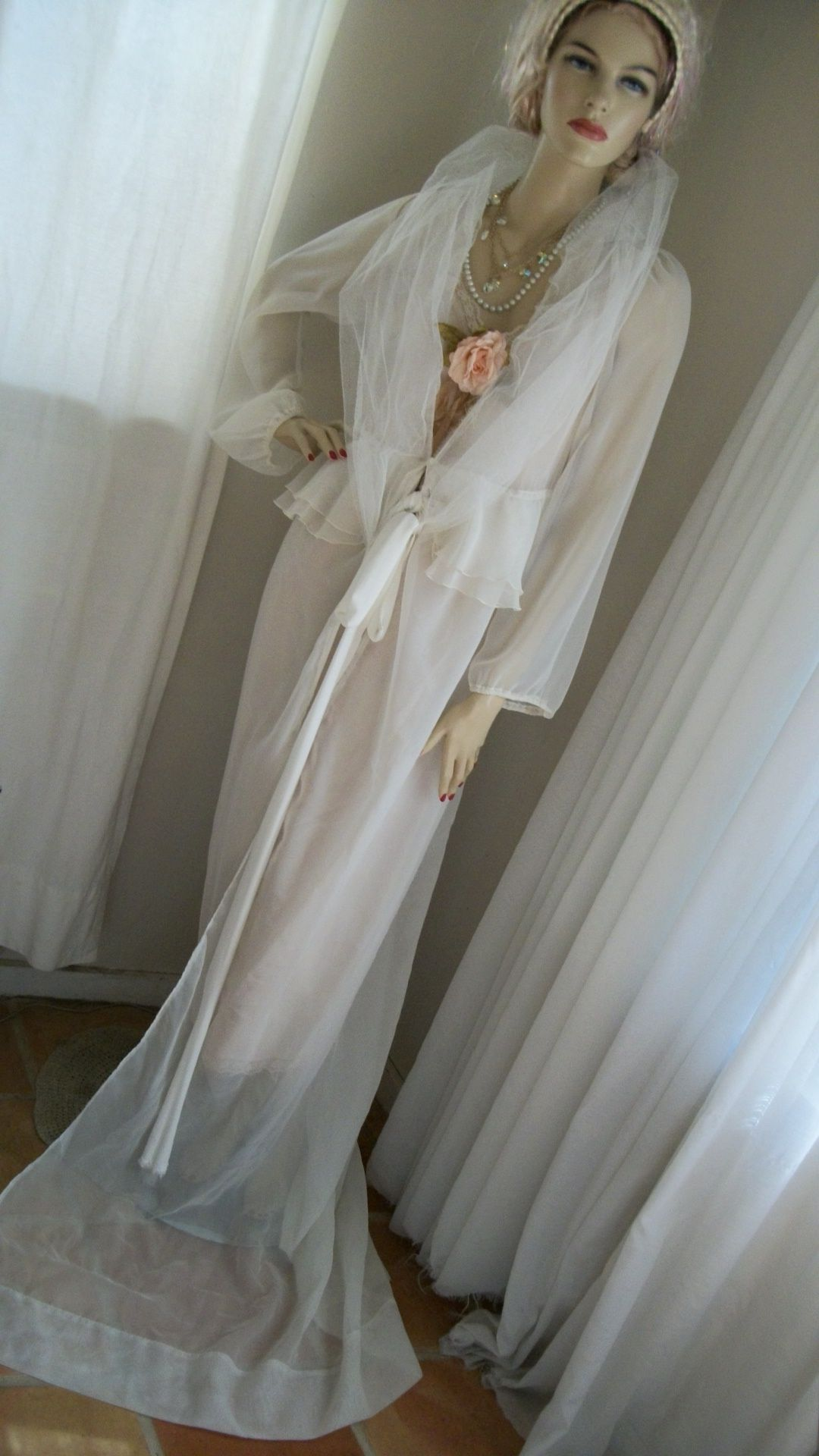 Original design by me.  One size fits most, one of a kind sheer white 1930s style dressing gown, house coat, wedding, glamour gown.  Listed for sale on my Etsy store:  Another Thyme Vintage  Sold