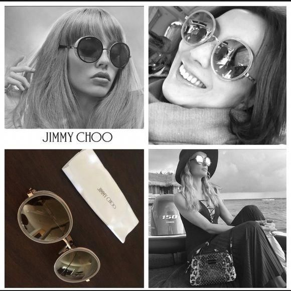 5f41c95f7dc5 JIMMY CHOO   ANDIE   Round Sunglasses 😎Shaded Mirror Gold  Taupe Round  Framed Sunglasses