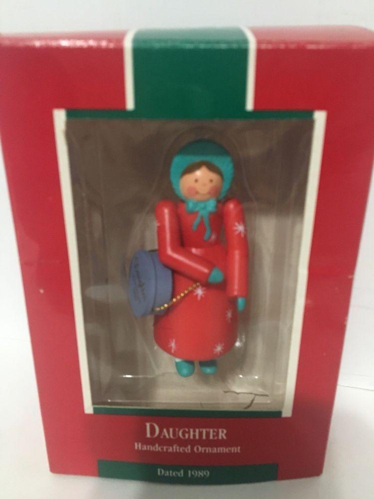 Vintage 1989 Wooden Hallmark Christmas Tree Daughter Ornament Ebay With Images Hallmark Christmas Ornaments Christmas Tree