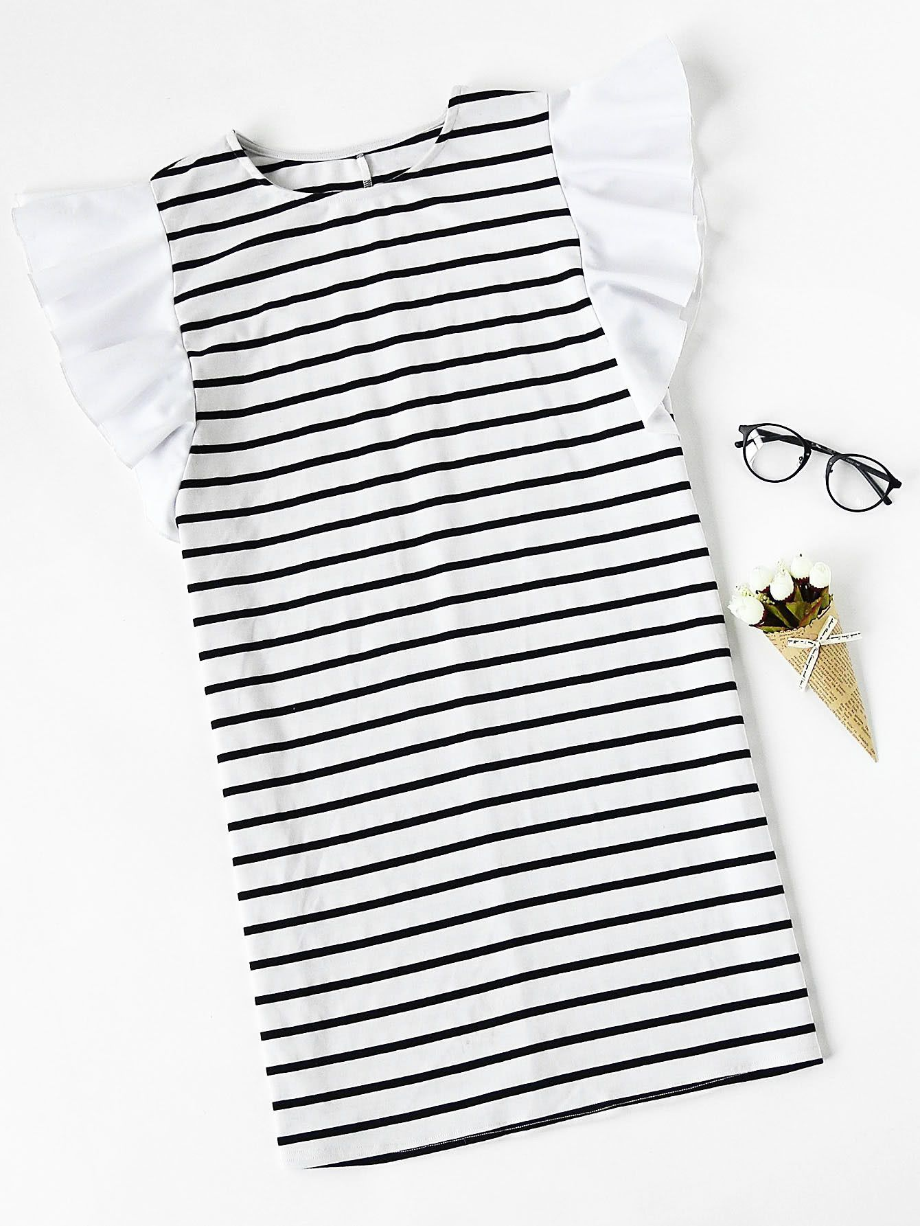 Buy it now. Ruffle Cap Sleeve Striped Tee Dress. Black and White Casual Cute Jersey Round Neck Cap Sleeve Shift Short Ruffle Striped Color Block Fabric has some stretch Summer Tshirt Dresses. , vestidoinformal, casual, informales, informal, day, kleidcasual, vestidoinformal, robeinformelle, vestitoinformale, día. SheIn  casual dress  for woman.