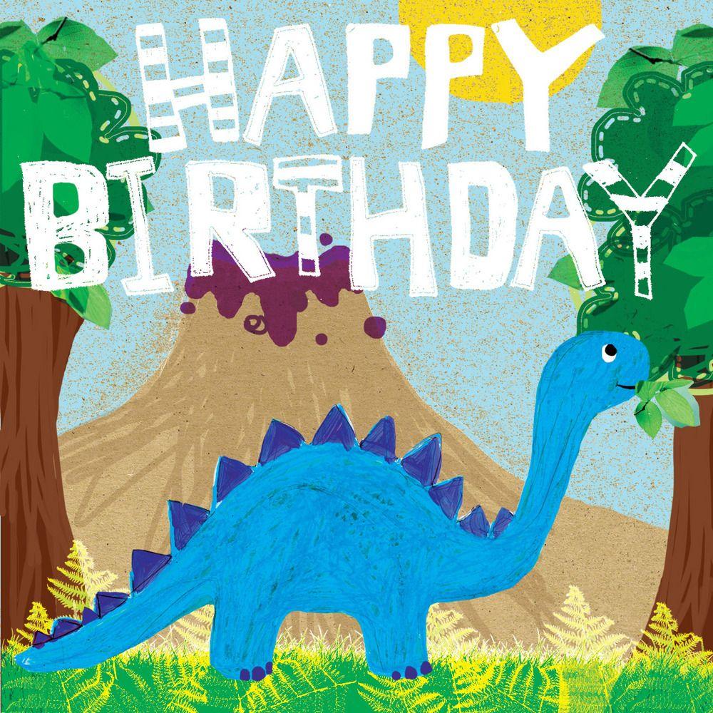 Dinosaur gift card blueberry paper happy 2nd birthday