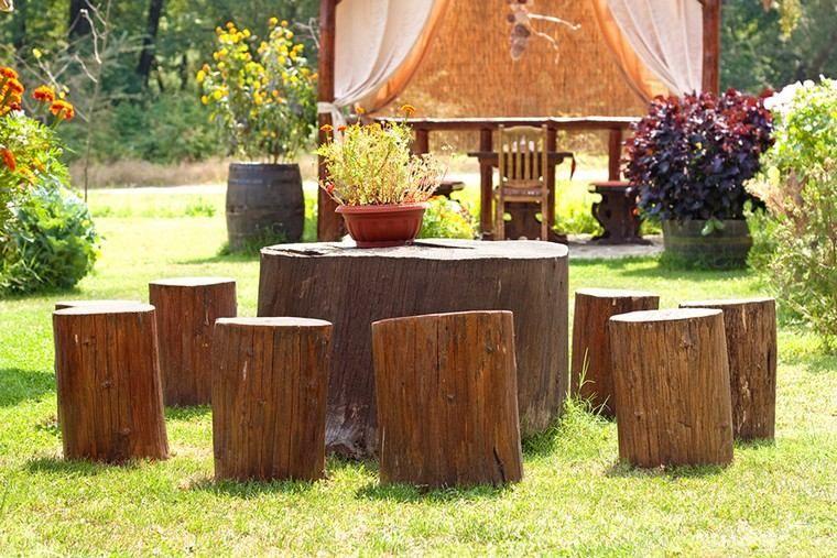 idée mobilier de jardin pas cher diy souche de bois récup ...